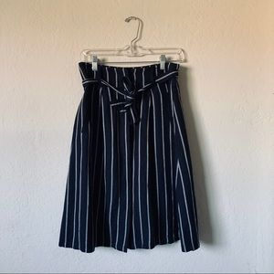 Ann Taylor Button Down Stripped Midi Skirt